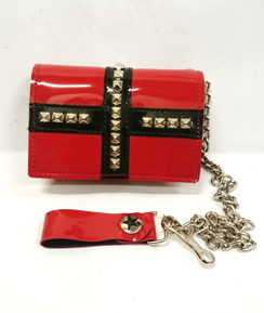 Red Vinyl wallet with black studded cross detail and chain