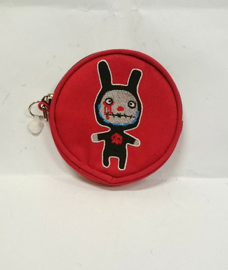 Red round bloody bunny man coin purse