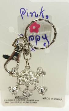 Diamontie skull and crossbones key ring