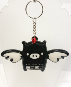 Flying pig with red bell key ring