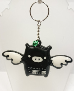 Flying pig with green bell key ring