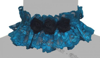 Darkstar Turquoise Lace and black flowers choker