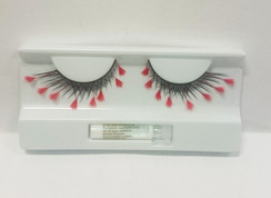 Black lashes with red feather extensions