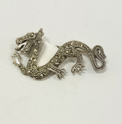 Silver Chinese Dragon Brooch