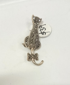 Silver Cat with articulated tail Brooch