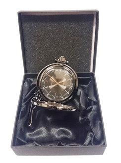 Gun metal Fob watch with chain in presentation box