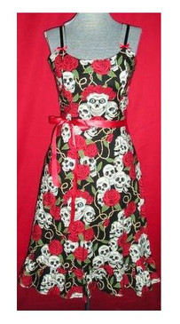 Rose Skull ruffle dress
