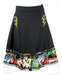 Cyanide black skirt with monster print - note made without bolt