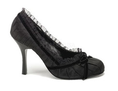 Dainty 420 Black satin heels with lace trim