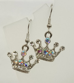 Silver diamante crown earrings