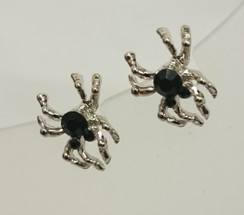 Silver spider studs with black stone earrings