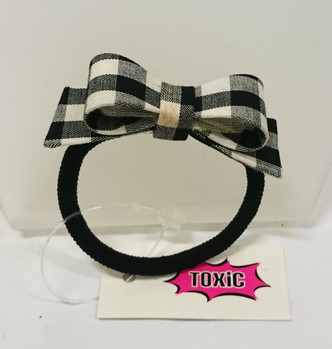 Black and white gingham hard bow Hairtie