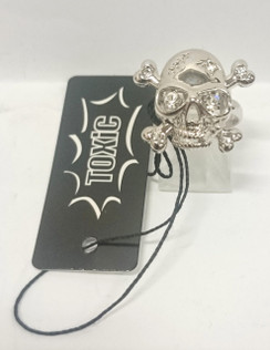 Smoking Skull and crossbones ring