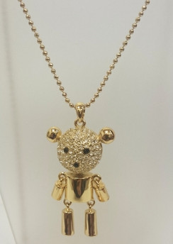 Gold diamante articulated teddy necklace