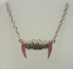 Rock Rebel Silver and red diamante vampire fang necklace