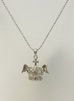 Diamante winged crown necklace