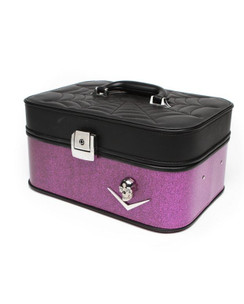 Elvira Vanity case in Black matte and Electric purple sparkle front