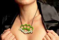 Bitches get Stitches knuckle duster necklace - green