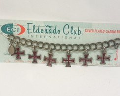 Red Glitter Iron Cross charm bracelet