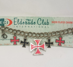 Black and Red Iron Cross charm bracelet