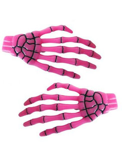Skeleton Hands Hairclips - Pink