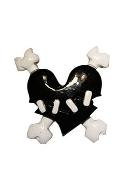 Black Crossbones and heart brooch