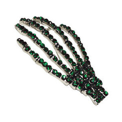 Diamontie Skeleton hand Brooch - Green