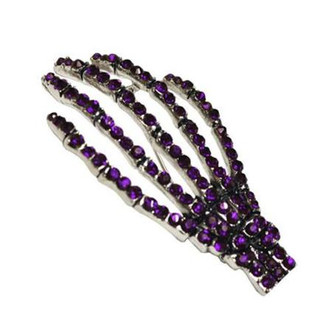Diamontie Skeleton hand Brooch - Purple