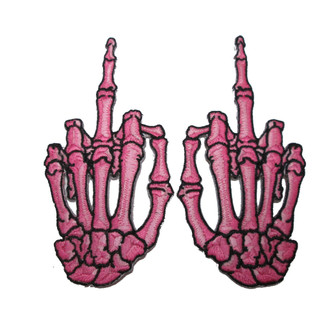 Skelli hand Finger bone patch pair - Pink