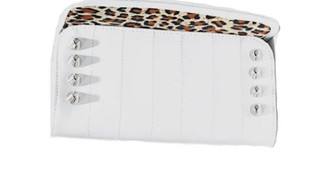 Sin City patent vinyl wallet with studs - White