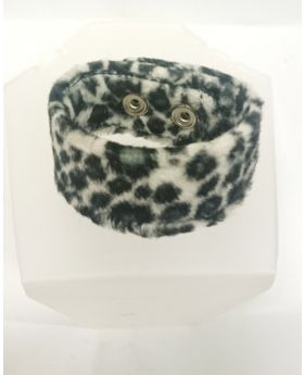 Black and white faux fur leopard cuff