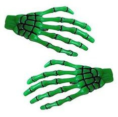 Skeleton Hands Hairclips - Green