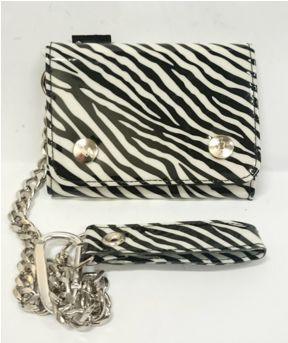 Black and white zebra vinyl wallet with chain