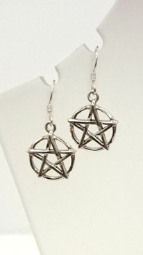 Sterling Silver Pentagram Earrings 3cm drop