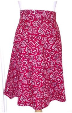 Heartbreaker A-Line skirt, red bandana print