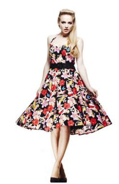 50's style Hawaii print swing dress