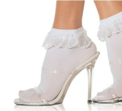 Anklet sock with lace ruffle