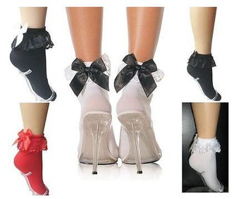 Anklet sock with ruffle and bow