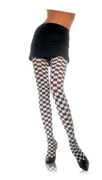 Black & white check tights