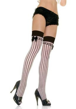 Black and white sheer stripe thigh high stockings