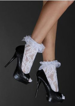 Lace anklet socks with ruffle