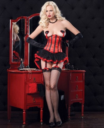 Leg Avenue Black and red Satin waist cincher with corset laced back front