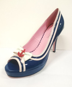 Leg Avenue Navy Heel with bow and anchor detail LAST PAIR SIZE 10