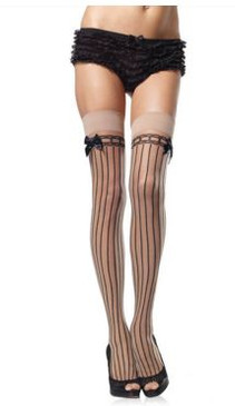 Nude and black stripe sheer thigh high stockings
