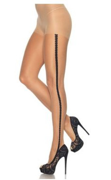 Nude sheer tights with dotted black side seam