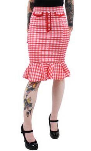 Red and white gingham skirt