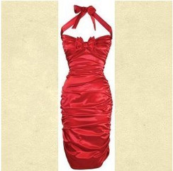 Lucky 13 - red satin rouched wiggle dress