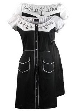Stompin off western dress - black white
