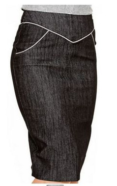 Sugar Shack Grey denim pencil skirt with white piping