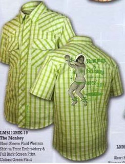 The Monkey green plaid shirt with back print